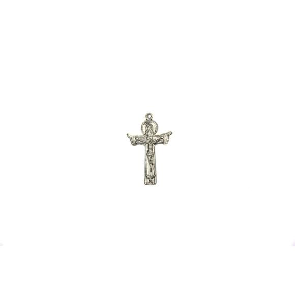 CZ86115P2 - Crucifixo Metal Santissima Trindade Prateado c/ 2un. - 4x2,5cm