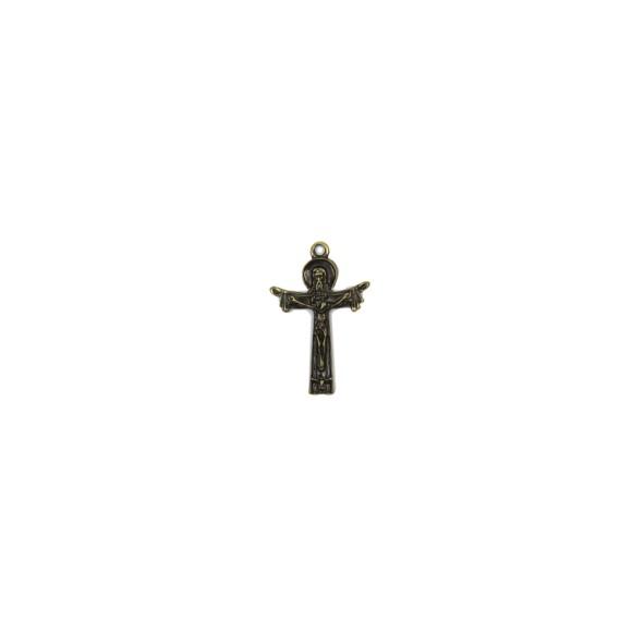 CZ86117P2 - Crucifixo Metal Santissima Trindade Ouro Velho c/ 2un. - 4x2,5cm