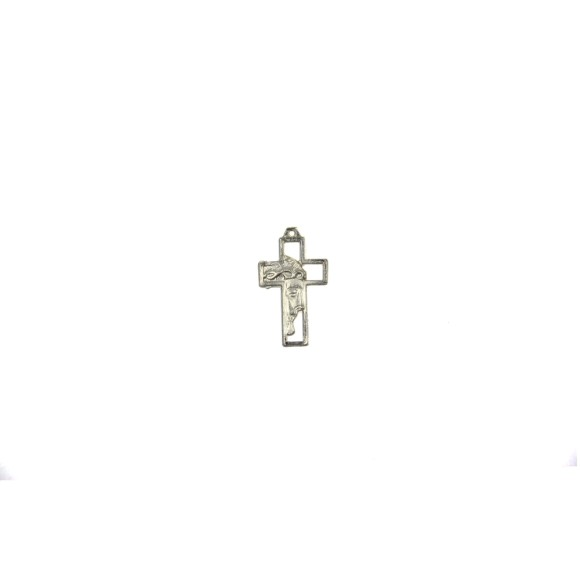 CZ89220P5 - Crucifixo Metal Face de Cristo Prateado c/ 5un. - 3,3x2cm