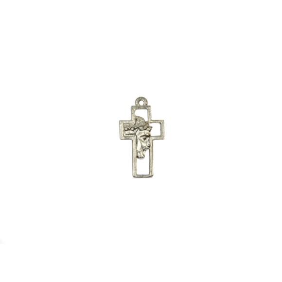 CZ86122 - Crucifixo Metal Face de Cristo Prateado - 4,5x2,5cm