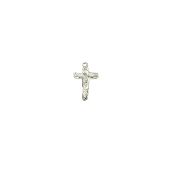 CZ86140P5 - Crucifixo Metal Jesus e Maria Prateado c/ 5un. - 3,5x2cm