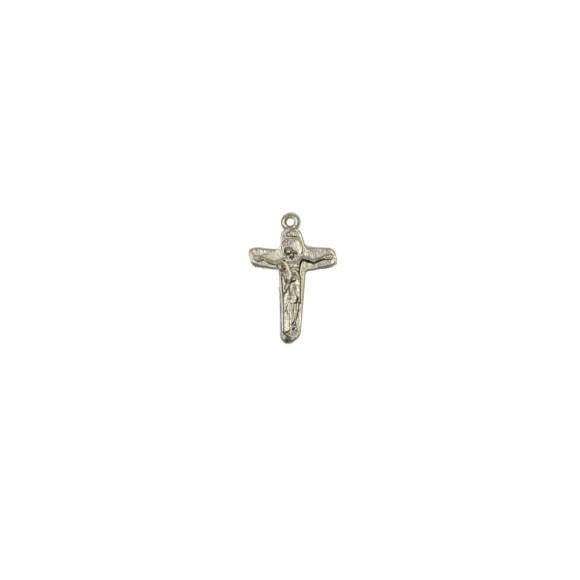 CZ86141P5 - Crucifixo Metal Jesus e Maria Níquel c/ 5un. - 3,5x2cm