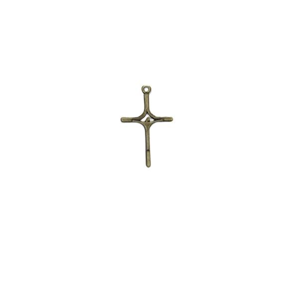 CZ86232P2 - Cruz Metal Ouro Velho c/ 2un. - 4x2,5cm