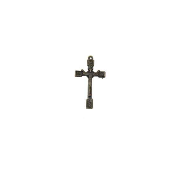 CZ86107P3 - Crucifixo Metal Ouro Velho c/ 3un. - 4,5x2,5cm