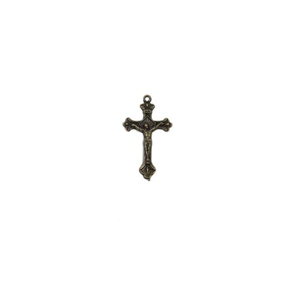 CZ86017P4 - Crucifixo Metal Ouro Velho c/ 4un. - 4,2x2,3cm