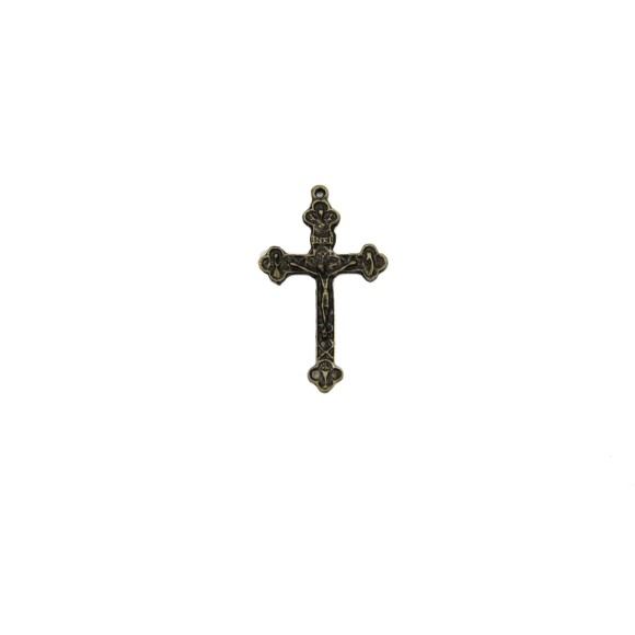 CZ86352P2 - Crucifixo Metal Ouro Velho c/ 2un. - 5x3cm