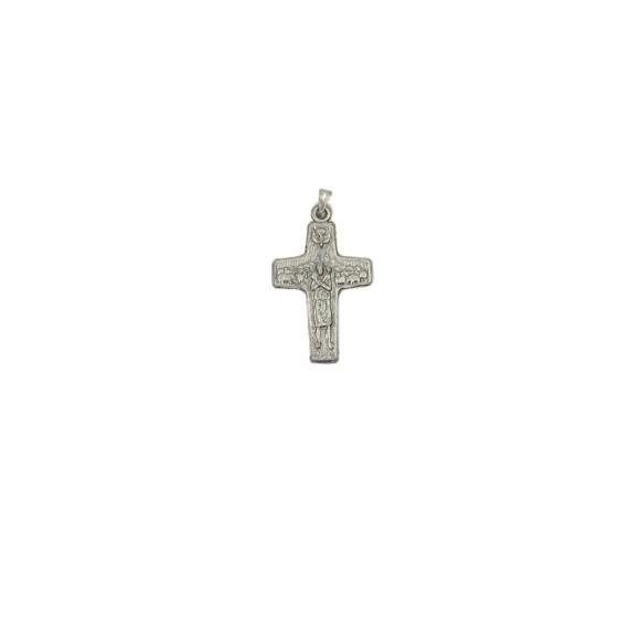 CZ86127 - Crucifixo Metal Bom Pastor Níquel Envelhecido - 5,2x3cm