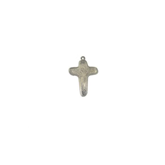 CZ86197 - Crucifixo Metal Jesus e Maria Níquel - 4,5x3cm