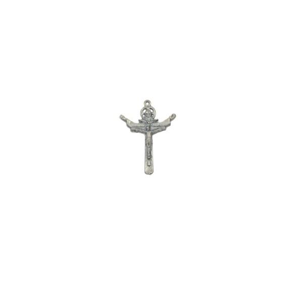 CZ85171 - Crucifixo Metal Santissíma Trindade Níquel Envelhecido - 5,5x4cm