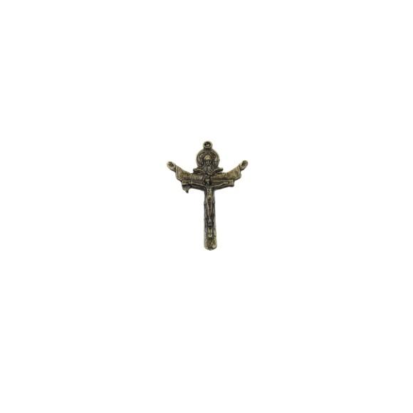 CZ85173 - Crucifixo Metal Santissíma Trindade Ouro Velho - 5,5x4cm