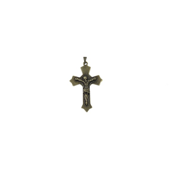 CZ85202 - Crucifixo Metal Ouro Velho - 6,5x4cm