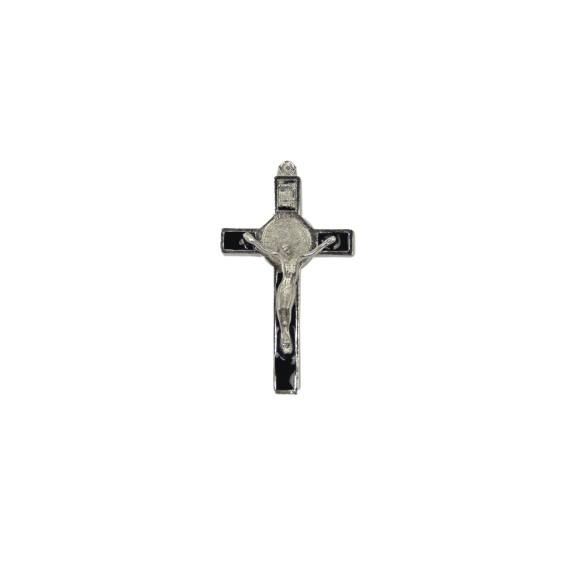 CZ85223 - Crucifixo Metal São Bento Resinado Preto - 7x4cm
