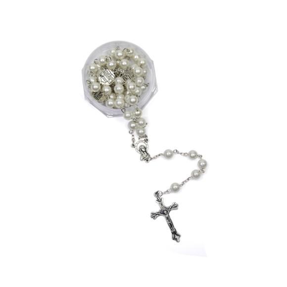 TE1070006 - Terço Pérola c/ Basílica e Entremeio Nossa Senhora - 55cm