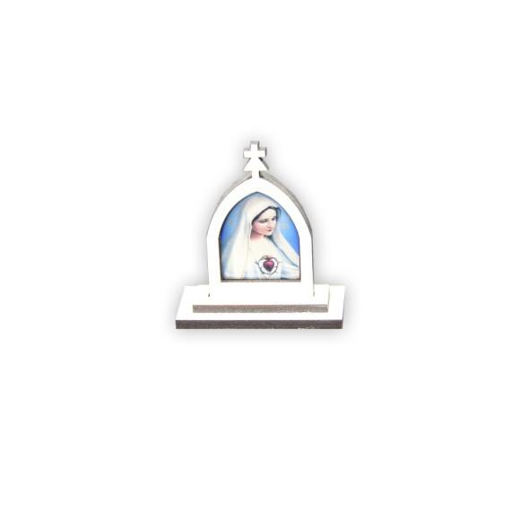 CP81001 - Capela  Imaculado Coração de Maria MDF Branca - 6x5,5cm