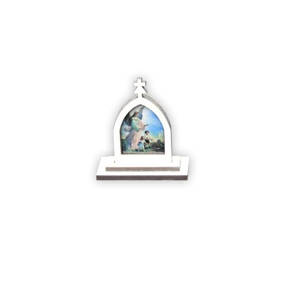 CP81100 - Capela Anjo da Guarda MDF Branca - 6x5,5cm