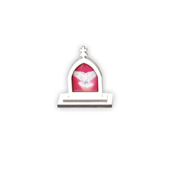 CP81101 - Capela  Divino Espírito Santo MDF Branca - 6x5,5cm
