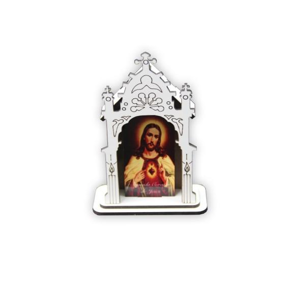 OT810100 - Oratório Sagrado Coração de Jesus MDF Branco - 12x8cm