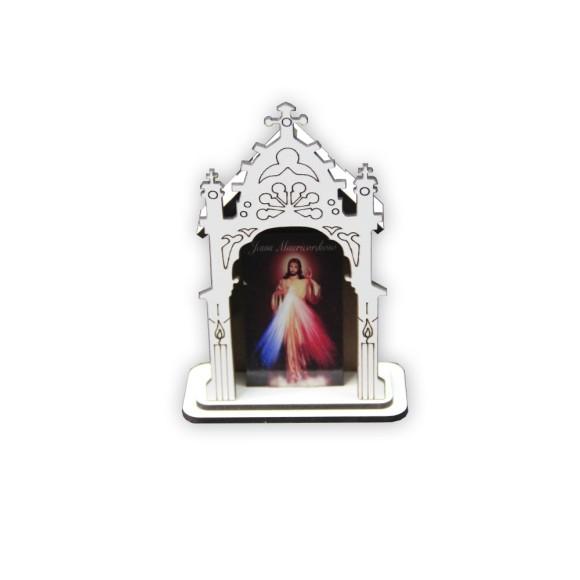 OT810101 - Oratório Jesus Misericordioso MDF Branco - 12x8cm