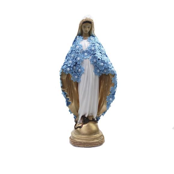 IM52102 - Imagem N. Sra. Das Graças c/ Guipir Azul e Strass Dourada - 33x14cm