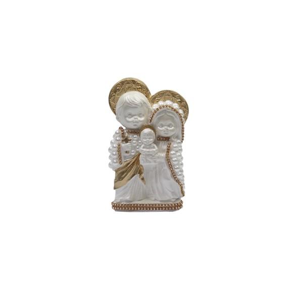 IM53001 - Imagem Sagrada Família Dourada (bebê) c/ Pérola e Strass - 14x10cm