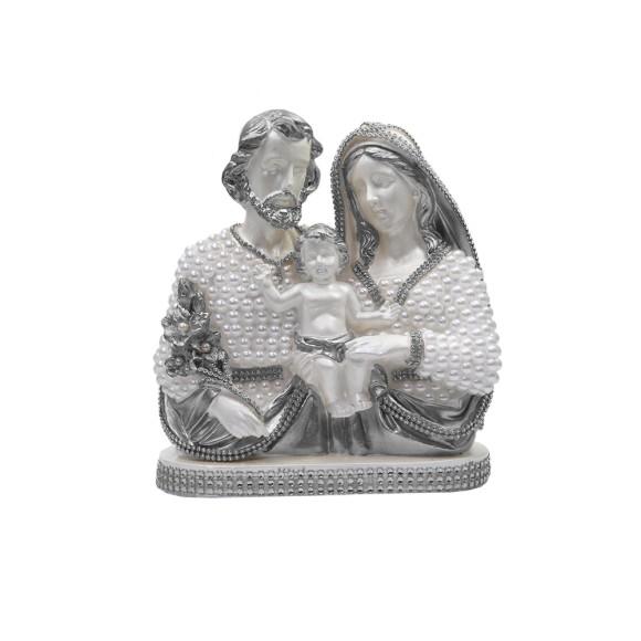 IM53061 - Imagem Sagrada Família Prata c/ Pérola e Strass - 23x20cm