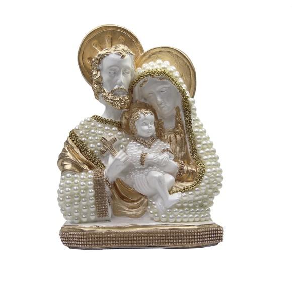 IM53080 - Imagem Sagrada Família Dourada c/ Pérola e Strass - 30x21cm