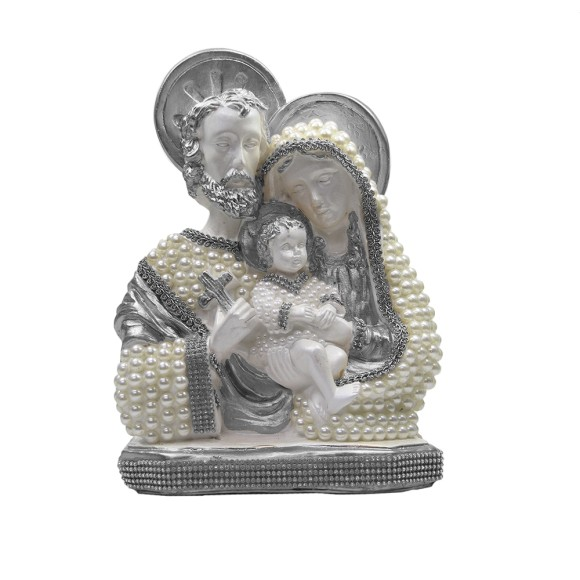 IM53081 - Imagem Sagrada Família Prata c/ Pérola e Strass - 30x21cm