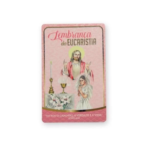 CT112011P12 - Cartão c/ 12un. Lembrança Primeira Eucaristia Menina - 8,5x5,5cm