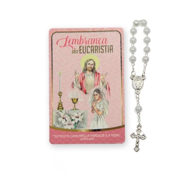 CT112012 - Cartão Lembrança Primeira Eucaristia Menina c/ Dezena - 8,5x5,5cm