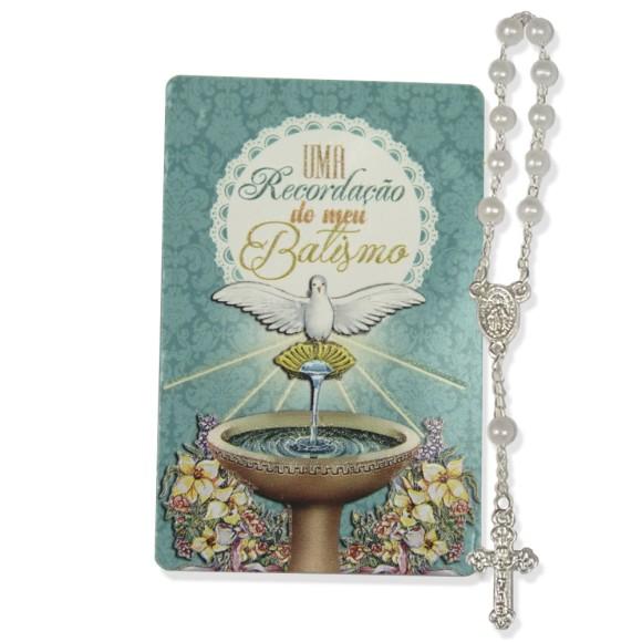 CT1423 - Cartão Lembrança Batismo C/ Dezena - 8,5x5,5cm