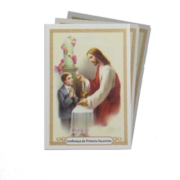 CT112040P100 - Cartão c/ 100un. Lembrança Primeira Eucaristia Menino - 9,5x6,5cm