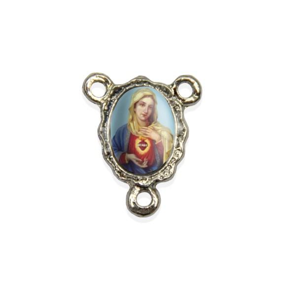 ET1671015P5 - Entremeio Sagrado Coração de Maria Resinado c/ 5un. - 1,9x1,5cm