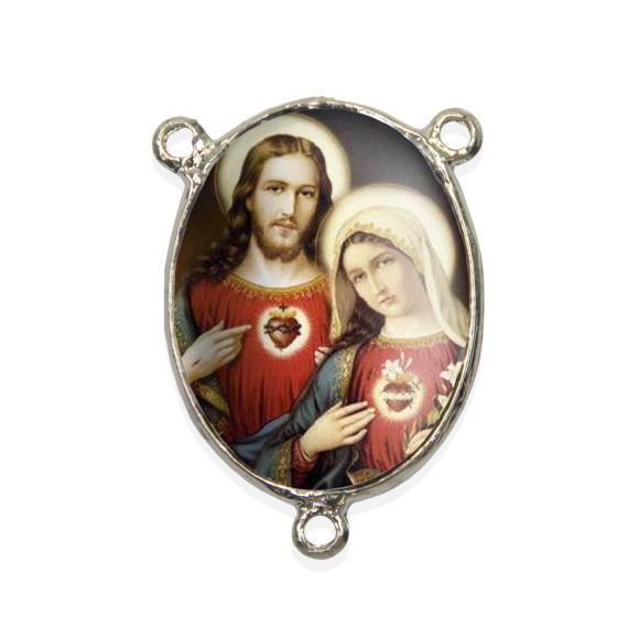 ET1690802 - Entremeio Sagrado Coração de Jesus e Maria Resinado - 4,5x3cm