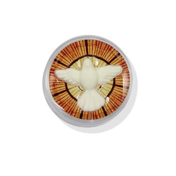 CXD75005P6 - Caixinha de Acrílico Divino Espírito Santo c/ 6un. - 3,5x3,5cm