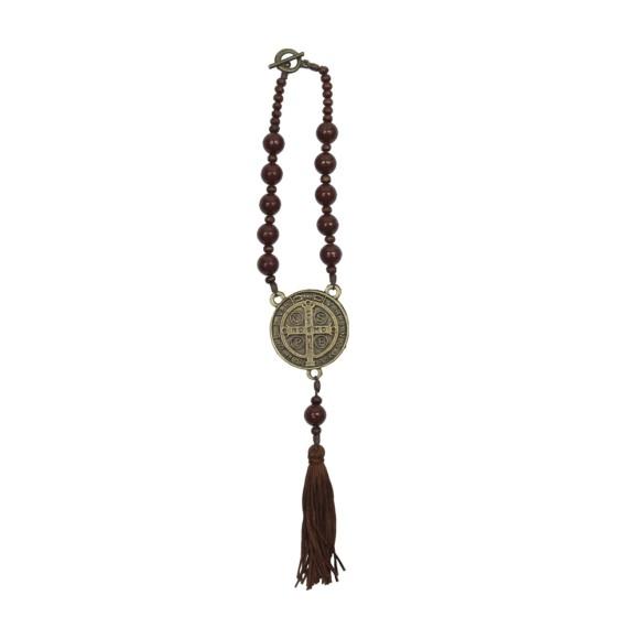 DZ610216 - Dezena Medalha São Bento c/ Fecho (Proteção para Carro) - 30x4cm