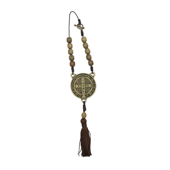 DZ610218 - Dezena Medalha São Bento c/ Fecho (Proteção para Carro) - 25x4,5cm