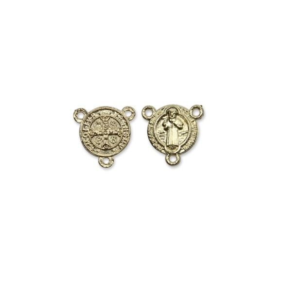 ET1630006P3 - Entremeio Medalha de São Bento Dourado c/ 3un. - 1,5x1,5cm