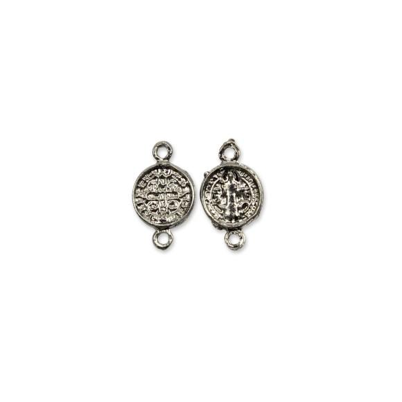 ET1630010P6 - Entremeio Medalha de São Bento Níquel c/ 6un. - 2x1cm