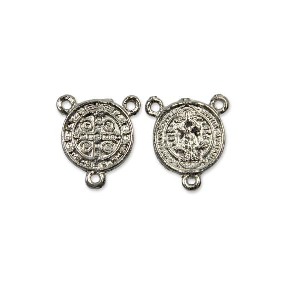 ET1630030P3 - Entremeio Medalha de São Bento Níquel c/ 3un. - 2x2cm