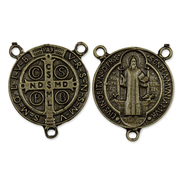 ET1630051 - Entremeio Medalha de São Bento Ouro Velho - 3,5x3cm