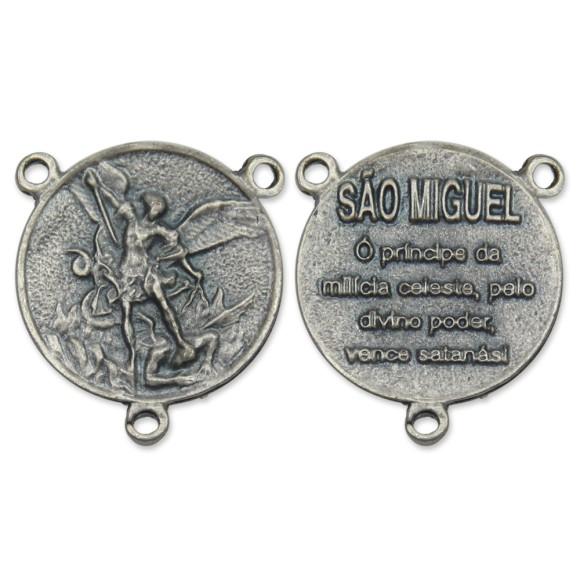 ET1640401 - Entremeio São Miguel Arcanjo Níquel Envelhecido - 3x3cm
