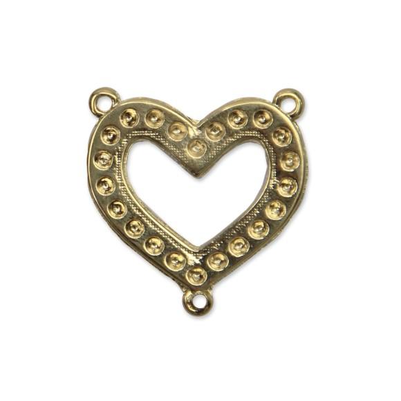 ET1640534 - Entremeio Coração Vazado Dourado - 3x3,3cm