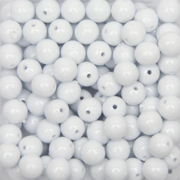 CTM050001P500G - Contas Bolinhas Acrílico Branco c/ 500 gramas - 8mm