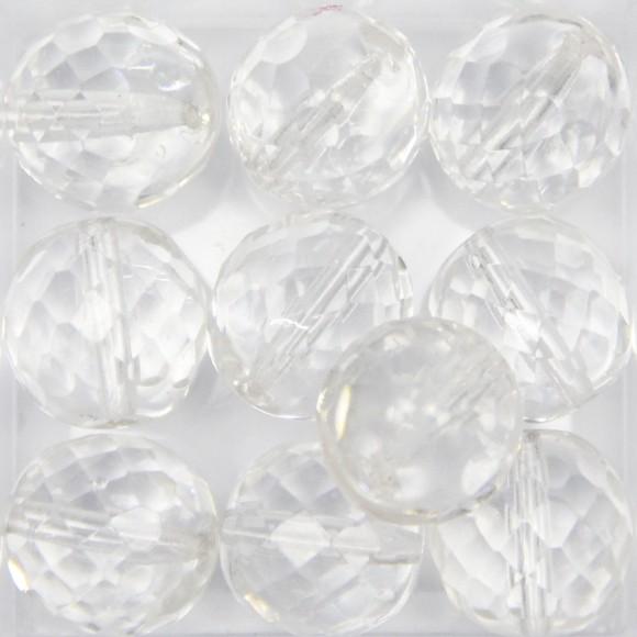 CTM350030P10 - Contas Bolinhas Cristal Branco c/ 10un. - 14mm
