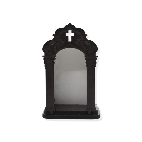 OT811002 - Oratório de Madeira Escura - 16x10cm