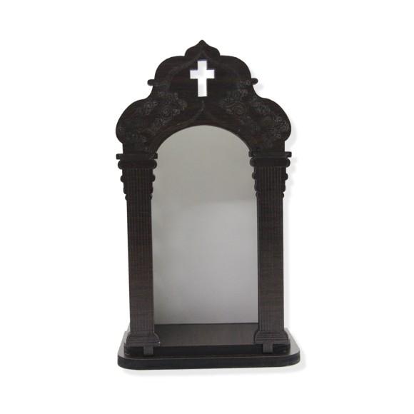 OT811011 - Oratório de Madeira Escura - 20x11,5cm