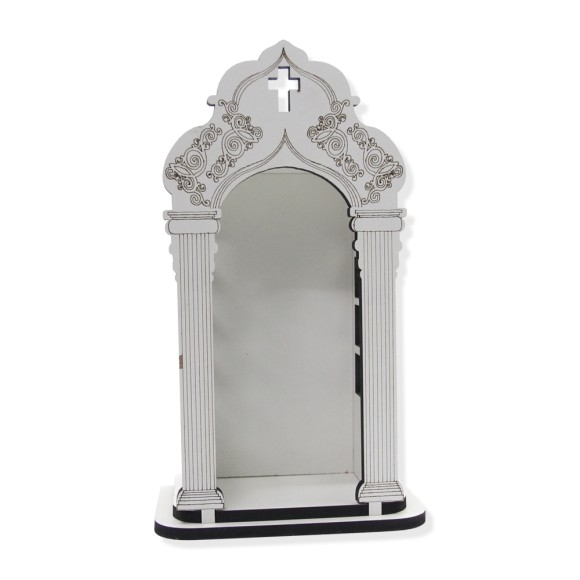OT811020 - Oratório de Madeira Branca - 25x15cm