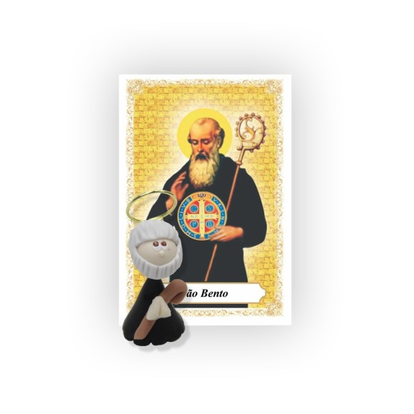 ST16022 - São Bento de Biscuit c/ Oração - 6x4cm