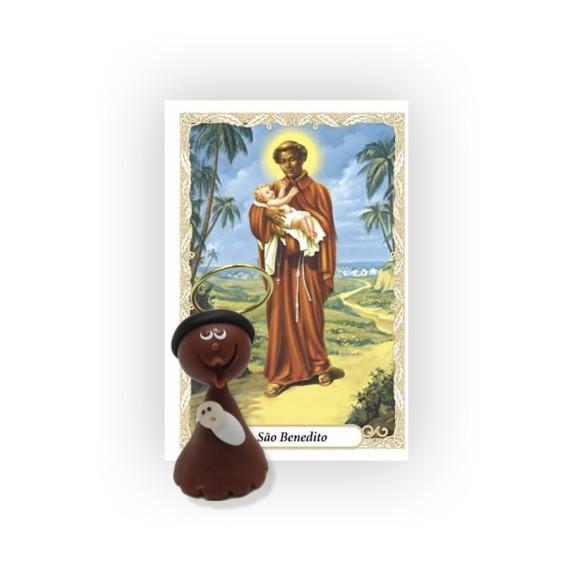 ST16023 - São Benedito de Biscuit c/ Oração 6x4cm