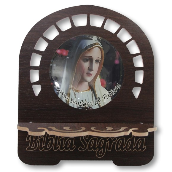 PB810202 - Porta Bíblia N. Sra. De Fátima MDF Resinado - 30,5x25,5cm